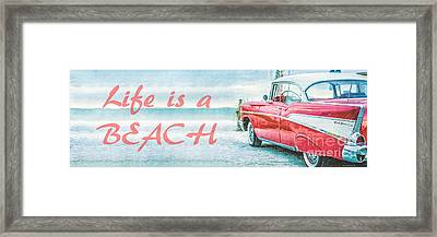 Life Is A Beach 57 Chevy Framed Print by Edward Fielding