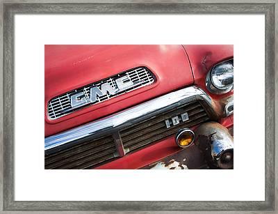 1957 Gmc V8 Pickup Truck Grille Emblem Framed Print