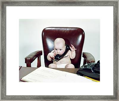 1960s Chubby Baby Sitting In Leather Framed Print