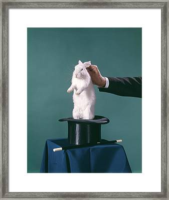 1960s Hand Of Magician Pulling White Framed Print