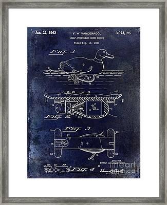 1963 Duck Decoy Patent Drawing Framed Print by Jon Neidert