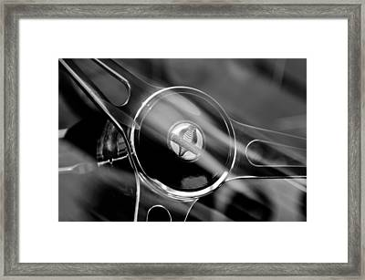 1965 Ford Mustang Cobra Emblem Steering Wheel Framed Print by Jill Reger