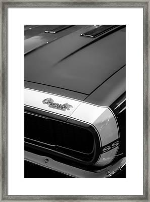 1967 Chevrolet Camaro Ss 350 Convertible Hood Emblem Framed Print by Jill Reger