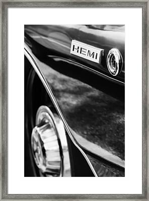 1968 Dodge Charger Rt Coupe 426 Hemi Upgrade Emblem Framed Print by Jill Reger