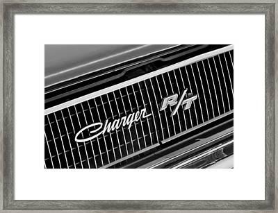 1968 Dodge Charger Rt Coupe 426 Hemi Upgrade Grille Emblem Framed Print by Jill Reger