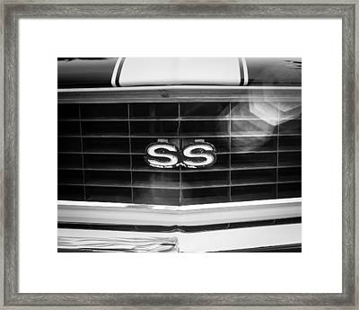 1969 Chevrolet Camaro Rs-ss Indy Pace Car Replica Grille Emblem Framed Print by Jill Reger