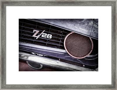 1969 Chevrolet Camaro Z28 Grille Emblem Framed Print by Jill Reger