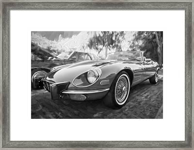 1975 Jaguar Xke V12 Convertible Painted Bw  Framed Print by Rich Franco