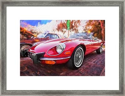 1975 Jaguar Xke V12 Convertible Painted  Framed Print by Rich Franco