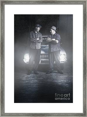 2 Male Gangsters Meeting In Dark Alleyway Framed Print by Jorgo Photography - Wall Art Gallery