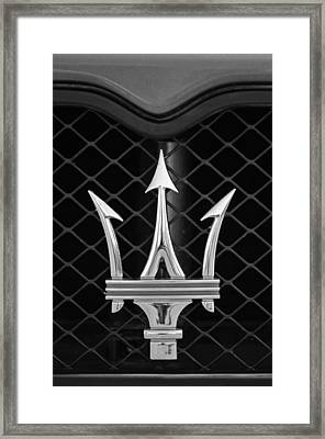 2005 Maserati Gt Coupe Corsa Emblem Framed Print by Jill Reger