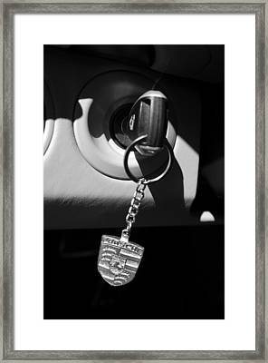 2008 Porsche Key Ring Black And White Framed Print by Jill Reger