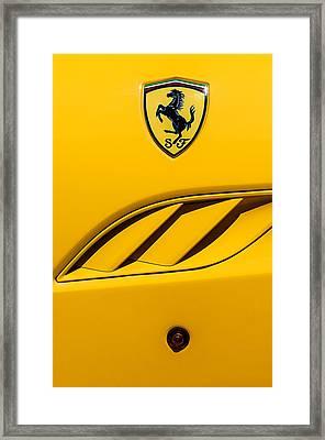 Framed Print featuring the photograph 2010 Ferrari California Side Emblem by Jill Reger