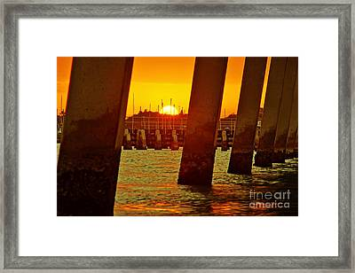 2013 First Sunset Under North Bridge 3 Framed Print by Lynda Dawson-Youngclaus