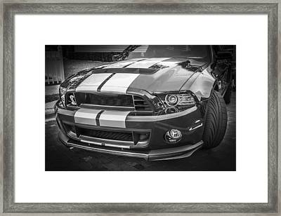 2013 Ford Mustang Shelby Gt 500 Bw Framed Print by Rich Franco