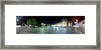 360 Degree View Of A City At Night Framed Print by Panoramic Images