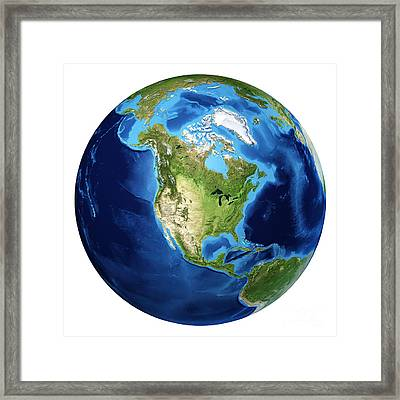 3d Rendering Of Planet Earth Centered Framed Print