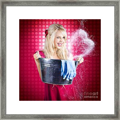 60s Retro Cleaning Lady With Metal Water Bucket Framed Print