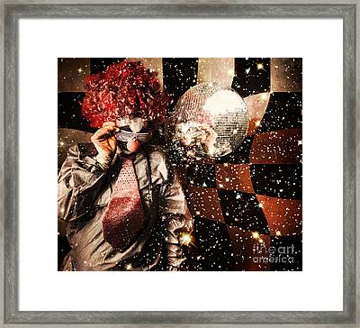 70s Dj Clown Spinning A Nightclub Turntable Framed Print by Jorgo Photography - Wall Art Gallery