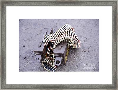 7.62mm Belted Rounds With Ammunition Framed Print by Andrew Chittock