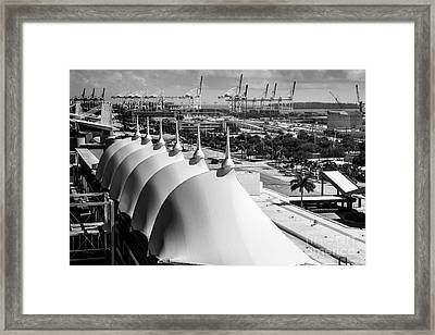 Port Of Miami Cruise Ship Terminal Miami Florida Framed Print by Rene Triay Photography