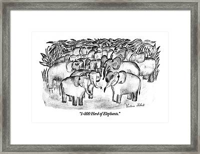 1-800 Herd Of Elephants Framed Print by Victoria Roberts