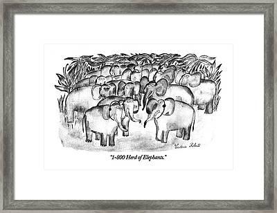 1-800 Herd Of Elephants Framed Print