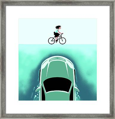 A Car Emerges From The Deep Toward A Bicyclist Framed Print