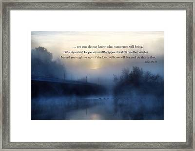 A Cold Foggy Morning Framed Print