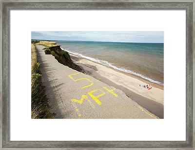 A Collapsed Coastal Road At Barmston Framed Print by Ashley Cooper