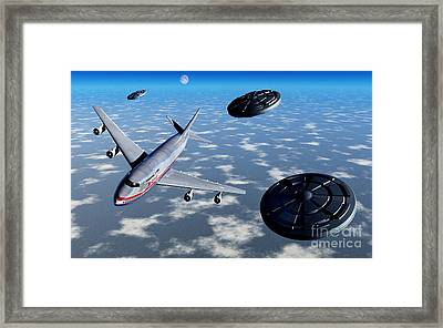 A Commerical Flight Boeing 747 Framed Print by Mark Stevenson