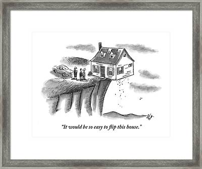 A Couple And A Real Estate Representative Stand Framed Print