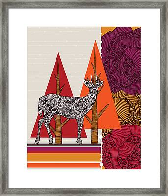 A Deer In Woodland Framed Print by Valentina Ramos