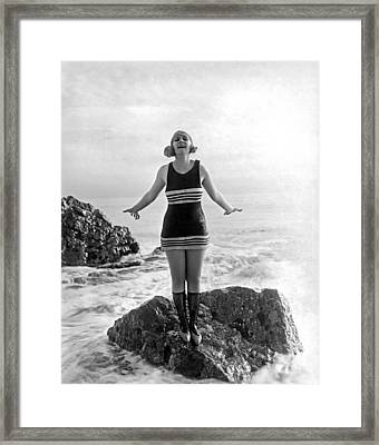 A Flapper In Her Bathing Suit Framed Print by Underwood Archives