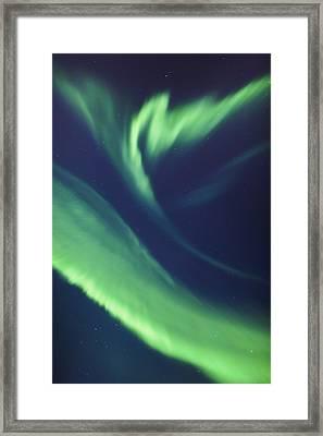 A Green Northern Lights Corona Framed Print