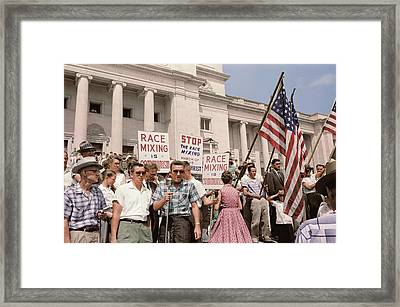 A Group Of People Rally In Washington Framed Print