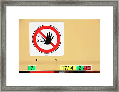A Keep Off Sign On A Low Loader Framed Print by Ashley Cooper