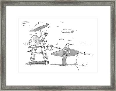 A Man In A Suit Is Seen Holding A Surfboard Framed Print