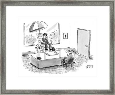 A Man Sits In A Tall Lifeguard Chair Framed Print
