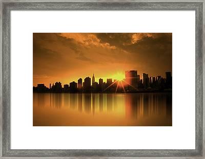 A Manhattan Sunset Framed Print by Nina Bradica