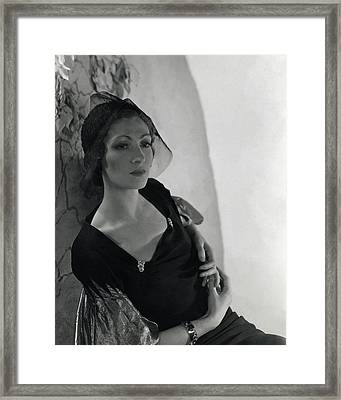 A Model Wearing A Talbot Hat Framed Print by Horst P. Horst