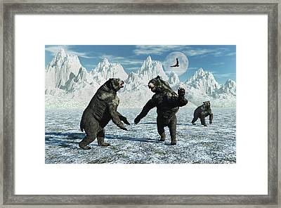 A Pair Of Arctodus Bears Framed Print
