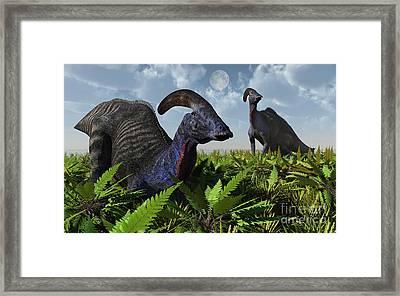A Pair Of Parasaurolophus Duckbill Framed Print by Mark Stevenson