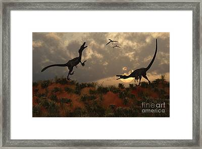 A Pair Of Velociraptors Involved Framed Print