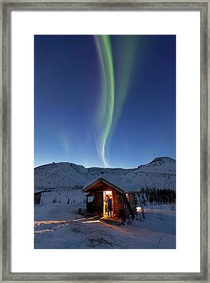A Person Stands In The Doorway Framed Print by Hugh Rose