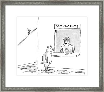 A Pig Stands At A Booth Titled Framed Print by Mick Stevens