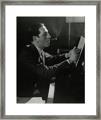 A Portrait Of George Gershwin At A Piano Framed Print by Edward Steichen