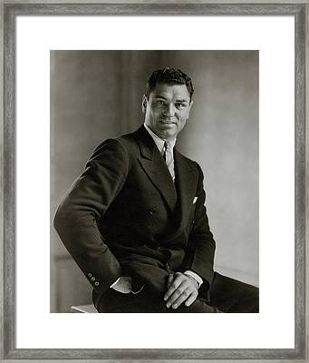 A Portrait Of Jack Dempsey Framed Print