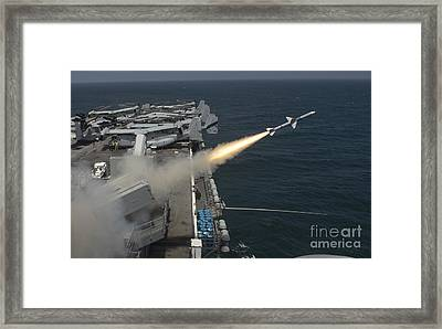 A Rim-7 Sea Sparrow Missile Is Launched Framed Print by Stocktrek Images