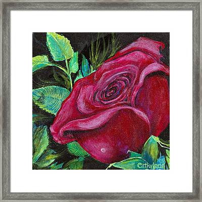 Framed Print featuring the painting A Rose For My Lily by Cathy Long